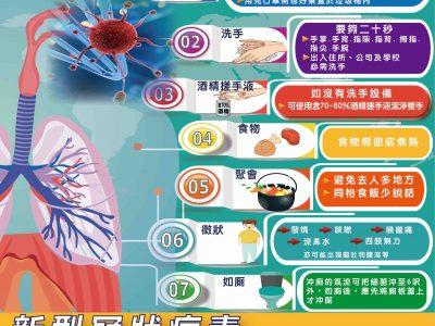 【預防新型冠狀病毒在社區傳播】日常7大注意事項
